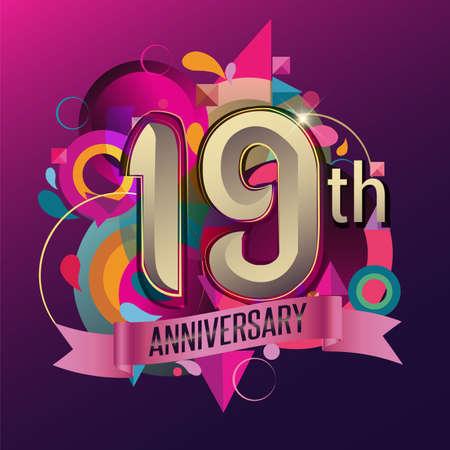 19th years anniversary wreath ribbon logo, geometric background Logó