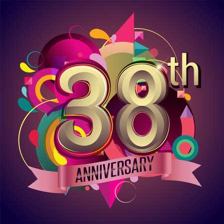 38th years anniversary wreath ribbon logo, geometric background