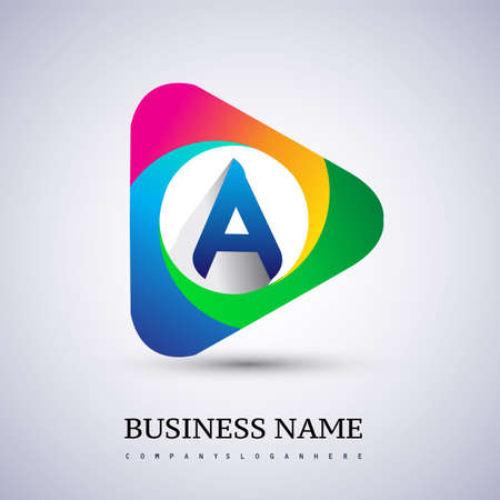 A letter colorful logo in the triangle shape, Vector design template elements for your Business or company identity.