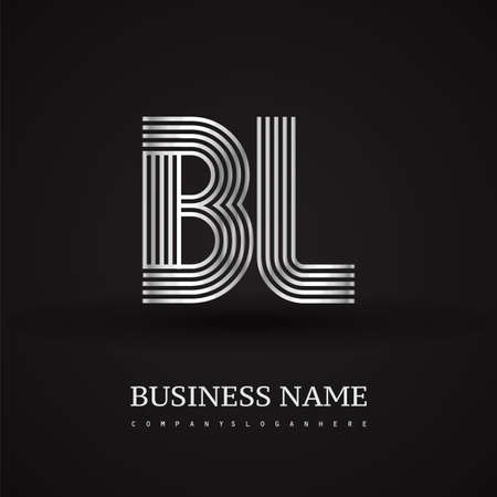 Letter BL linked logo design. Elegant silver colored symbol for your business or company identity.