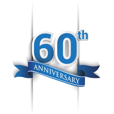 60th years anniversary logo, blue colored vector design on white background. template for Poster or brochure and invitation card.