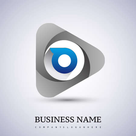 logo letter O rounded in the triangle shape, Vector design template elements for your Business or company identity.