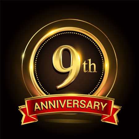 9th golden anniversary logo with ring and red ribbon. Vector design template elements for your birthday celebration.
