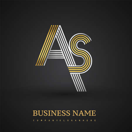 Letter AS logo design. Elegant gold and silver colored, symbol for your business name or company identity. Logo
