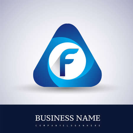 Logo F letter blue colored in the triangle shape, Vector design template elements for your Business or company identity.