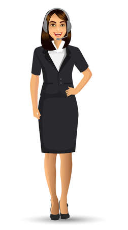 female call center avatar, woman wearing headsets of client services and communication, vector illustration.