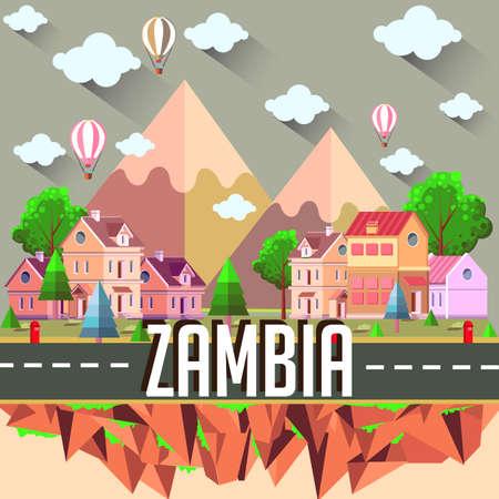 Zambia - Flat design city vector illustration 向量圖像