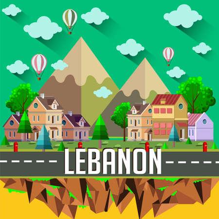 Lebanon - Flat design city vector illustration Vetores