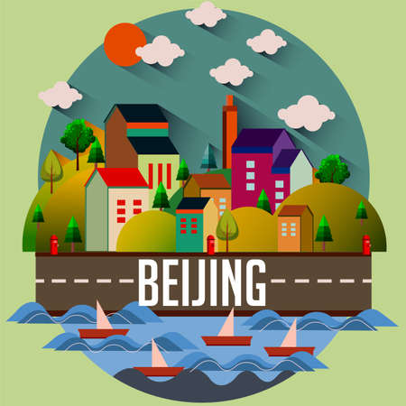 Beijing - Flat design city vector illustration