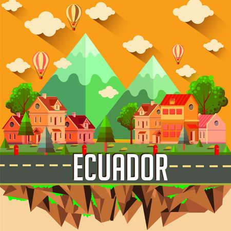 Ecuador - Flat design city vector illustration