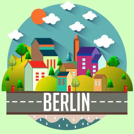 Berlin - Flat design city vector illustration