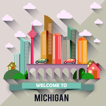 Michigan - Flat design city vector illustration 向量圖像