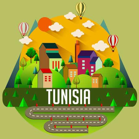 Tunisia - Flat design city vector illustration