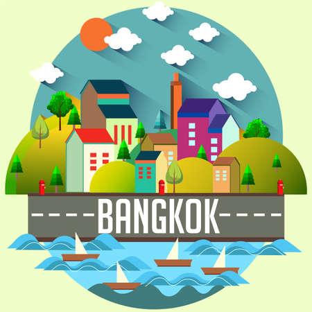 Bangkok - Flat design city vector illustration 向量圖像