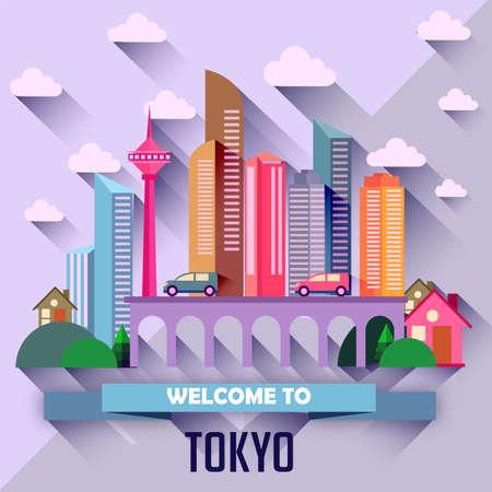 Tokyo - Flat design city vector illustration