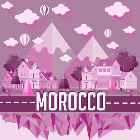 Morocco - Flat design city vector illustration