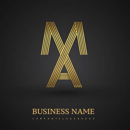 Letter MA linked logo design. Elegant golden colored symbol for your business or company identity.