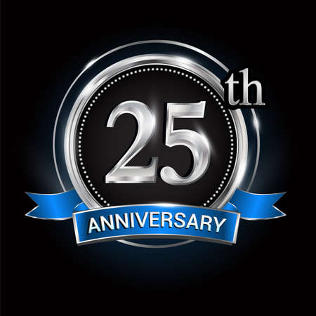 Celebrating 25th anniversary logo. with silver ring and blue ribbon. Logo