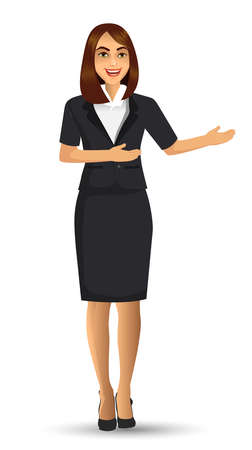 Businesswoman in black suits, with standing position or presentation poses, vector illustration Ilustración de vector