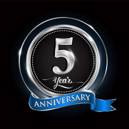 Celebrating 5th years anniversary logo. with silver ring and blue ribbon. Logo