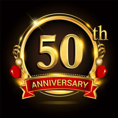 50th anniversary logo with golden ring, balloons and red ribbon. Vector design template elements for your birthday celebration. Logo