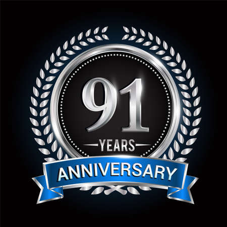 Birthday celebration logo 91st years with wreath, laurel, blue ribbon and silver ring.