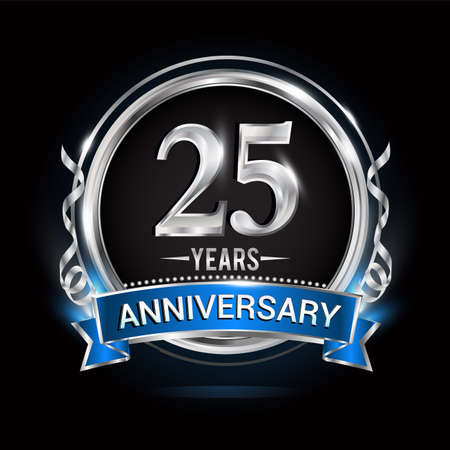 Logo celebrating 25th years anniversary with silver ring and blue ribbon.