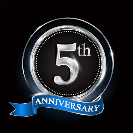 5th anniversary logo with silver ring and blue ribbon.
