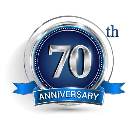 Celebrating 70th anniversary logo, with silver ring and ribbon isolated on white background.