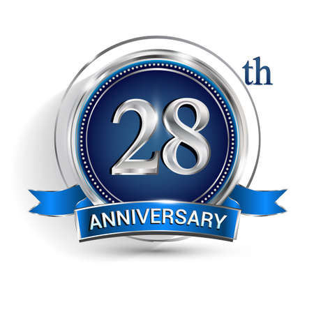 Celebrating 28th anniversary logo, with silver ring and ribbon isolated on white background. Logo