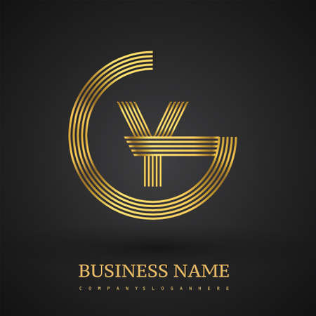 Letter GY linked logo design circle G shape. Elegant golden colored, symbol for your business name or company identity. Logó
