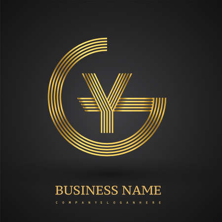 Letter GY linked logo design circle G shape. Elegant golden colored, symbol for your business name or company identity.