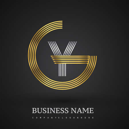 Letter GY linked logo design circle G shape. Elegant gold and silver colored, symbol for your business name or company identity.