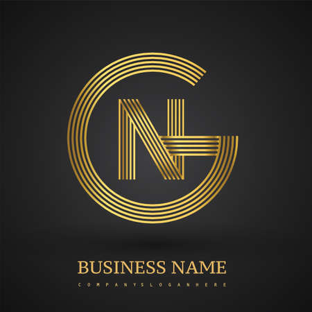 Letter GN linked logo design circle G shape. Elegant golden colored, symbol for your business name or company identity.