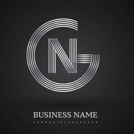 Letter GN logo design circle G shape. Elegant silver colored, symbol for your business name or company identity.