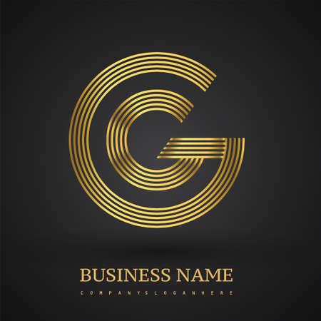 Letter GC linked logo design circle G shape. Elegant golden colored, symbol for your business name or company identity. Logó