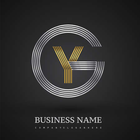 Letter YG logo design circle G shape. Elegant silver and gold colored, symbol for your business name or company identity.