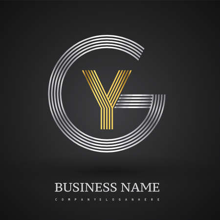 Letter GY logo design circle G shape. Elegant silver and gold colored, symbol for your business name or company identity.
