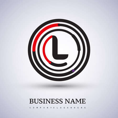 Letter L vector logo symbol in the circle thin line colored black and red. Design for your business or company identity.