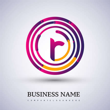 Letter R vector logo symbol in the colorful circle thin line. Design for your business or company identity.
