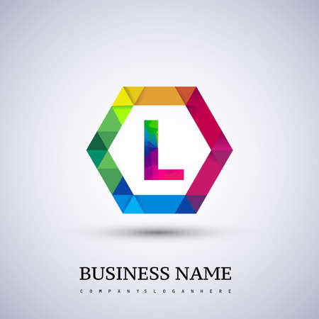 L letter colorful logo in the hexagonal. Vector design template elements for your application or company identity.entity.