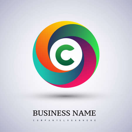 Letter C logo with colorful splash background, letter combination logo design for creative industry, web, business and company.
