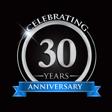 Celebrating 30 years anniversary logo. with silver ring and blue ribbon.
