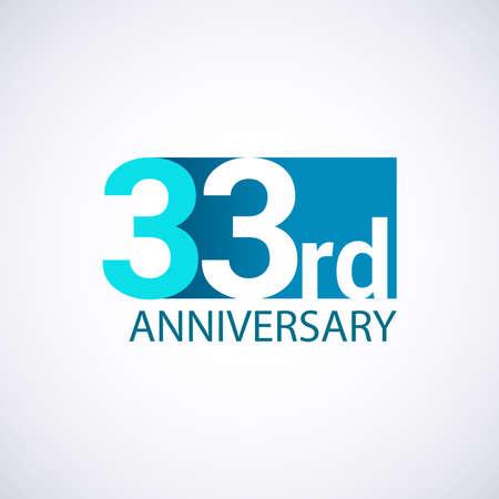 Template 33 anniversary blue colored vector design for birthday celebration.