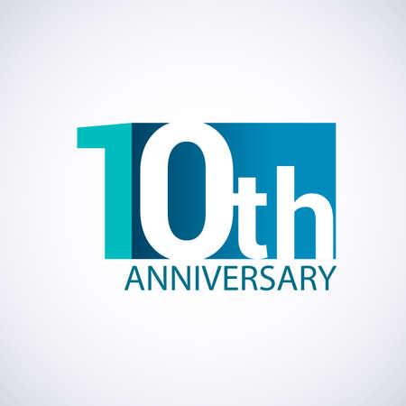 Template 10 anniversary blue colored vector design for birthday celebration.