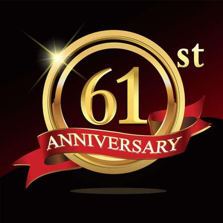 61 golden anniversary . with ring and ribbon. Ilustración de vector