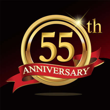 55 golden anniversary . with ring and ribbon. Векторная Иллюстрация