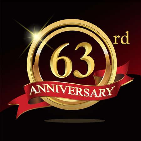 63 golden anniversary . with ring and ribbon. Ilustración de vector