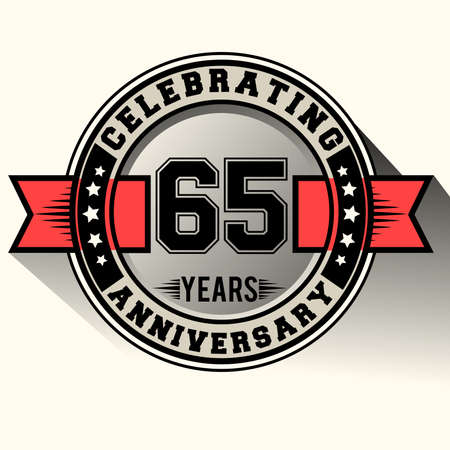 Celebrating 65 years anniversary vintage emblem with red ribbon, Retro vector design isolated on white background