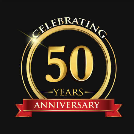 Celebrating 50 years anniversary . with golden ring and red ribbon.